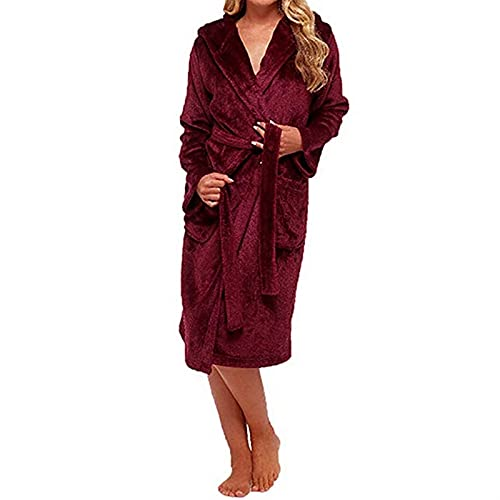 Ciepły Szlafrok Damski,Szlafrok Piżamy W Dużych Rozmiarach,Szlafrok Z Kapturem Szlafrok Z Kieszeniami (Color : Burgundy, Size : S)