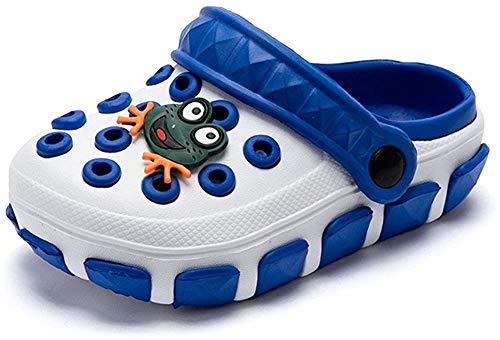 Kleine Tomate Unisex Kinder Hausschuhe Kinder Clogs Gartenschuhe Bequemer Atmungsaktiv Strand Aqua Slippers, Weiß+Blau, Gr. 30(Schuhe Innenlänge:18.0cm)