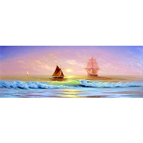 N / A Sunset Natural Seascape Sailing Sea Landscape Poster Mural Picture Painting Living Room Mural Home Decoration Frameless 40x120cm