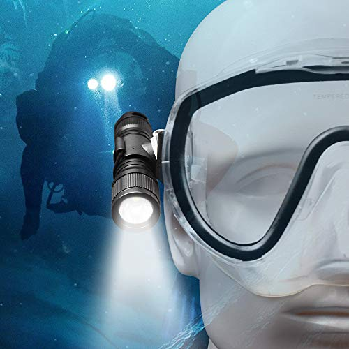 ORCATORCH D560 Mini Scuba Dive Light Headlamp Rotary Switch Underwater Torch with 360 Degrees Rotatable Mask Clip, Backup Batteries, Lanyard, O-Rings...