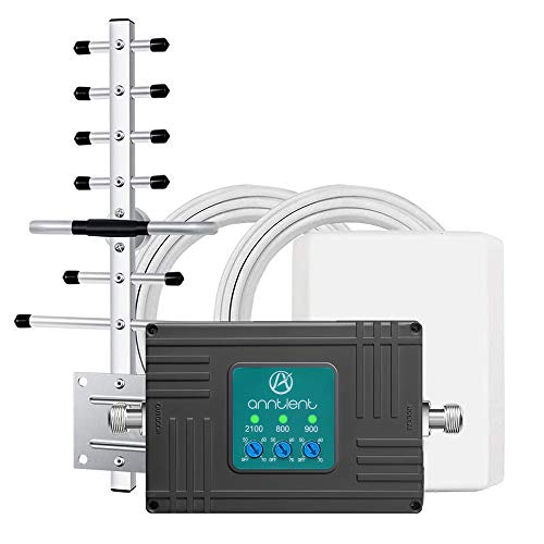 ANNTLENT Amplificador gsm 3G 4G Tri-Banda Repetidor gsm 800/900/2100MHz Amplificador Señal Movil para el Hogar/Oficina Compatible con Movistar/Orange/Yoigo/Vodafone