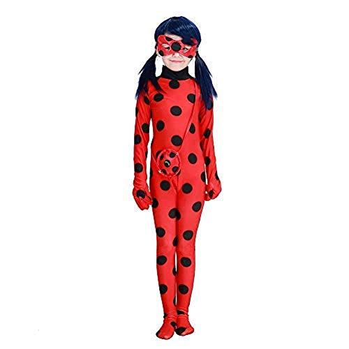 Ladybug Marienkäfer Kostüm für Mädchen | 3-teilig: Overall, Maske, Tasche | rot mit schwarzen Punkten | ideal für Karneval & Fasching: Größe: M (116)