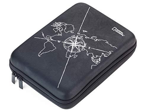 Troika Organizer-Etui mit Reißverschluss, Motiv: Weltkarte + Kompass, 3 Innenfächer, Trennwand mit Elastikband-Schlaufen, Kunstleder, Samt, schwarz