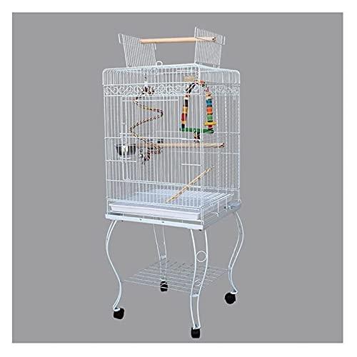 M3 Decorium Racks clásicos de pájaros Pet, bastidores interactivos y jaulas de Loros móviles Son adecuados para Canarios pequeños Loros pinzones Amor (Color : White)