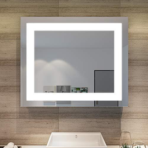 SONNI Espejo de Baño con Luz LED 60x50cm Blanco Frío IP44 Espejo de Pared de Ahorro de Energía
