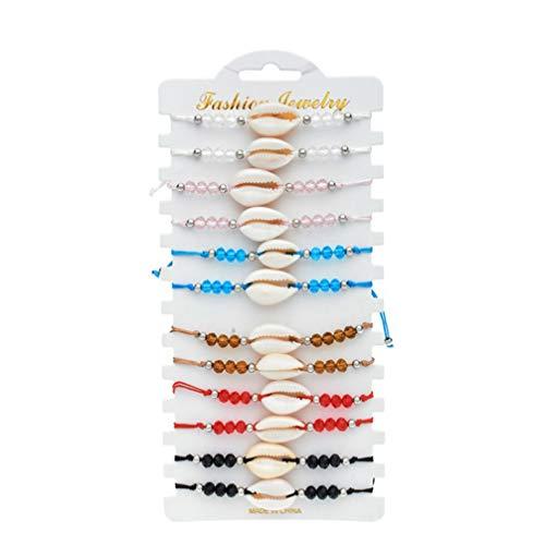 EXCEART 12 Piezas Pulseras de Concha Marina para Mujer Pulsera de Cadena de Tejer de Cristal Pulseras de Hilo Decorativas para Mujer