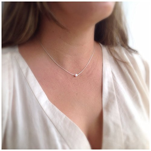 Opal Ball Halskette Wei? Opal Sterling Silber Opal Bead Halskette L?nge 41cm / 16inch + 5cm Extender