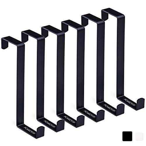 ACMETOP 6 Stück Türhaken, Z-förmige Umschaltbare Kleiderhaken Tür, Tür Haken Mit Schaumstoff Schutz, Robuster Metall-Türgarderobe für Türbreiten 3.5 cm und 4.5 cm (Schwarz)