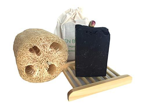 Kit de Baño: Pastilla de Jabón Artesanal Bio de Carbón Activo y Geranio, Natural y Vegano; Esponja Vegetal Luffa y Jabonera de Bambú. Zero Waste. Biodegradable.