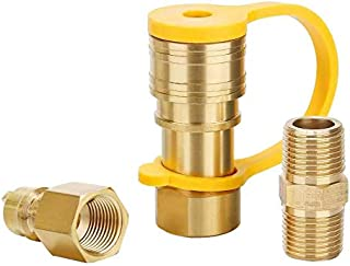 Roastove 3/8 Inch Natural Gas Quick Connect Fittings, LP Gas Propane Hose Quick Disconnect Kit, Gas Grill Quick Connector ...