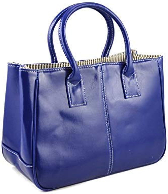 Bloomerang Ladies Class PU Leather Satchels Tote Purse Bag Handbag color blueee