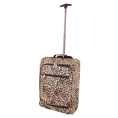 Cabin Case Lightweight Hand Luggage Airline Approved Travel Bag Wheels Handle (Leopard)