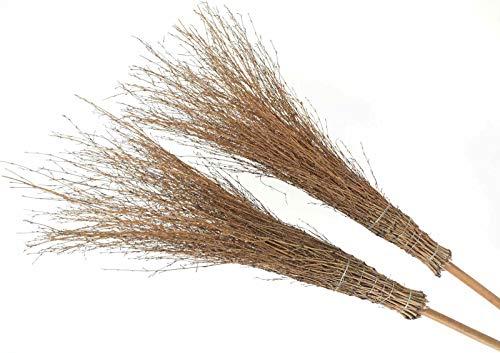 Bambusbesen mit Stiel, Reisigbesen aus Bambus, Stallbesen, Hexenbesen 5 Stück*