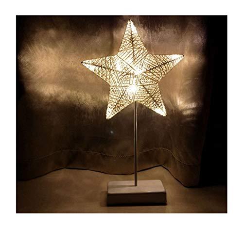 FU_YING Lámparas de mesa y mesilla de noche Simples luces nocturnas hechas a mano Estrellas LED Dormitorios pequeños Lámpara de mesa Regalos