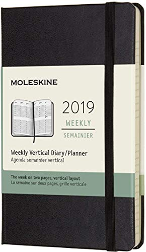 (modello precedente) - Moleskine anno 2019 Agenda Settimanale 12 Mesi, Verticale, Tascabile, Copertina Rigida, Nero, ( 9 x 14 cm)