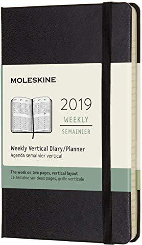 Moleskine 2019 Agenda Settimanale 12 Mesi, Verticale, Tascabile, Copertina Rigida, Nero, ( 9 x 14 cm)