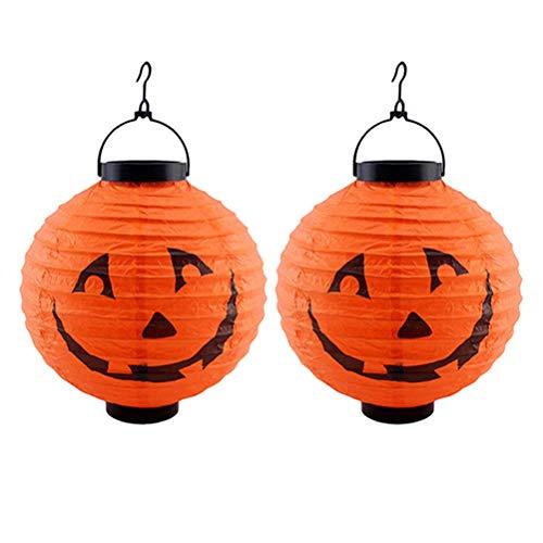 Protección del entorno de seguridad. 2 piezas de Halloween calabaza que brilla intensamente la linterna LED de la linterna de papel plegable portátil horror fantasma amarillo de la lámpara de calabaza