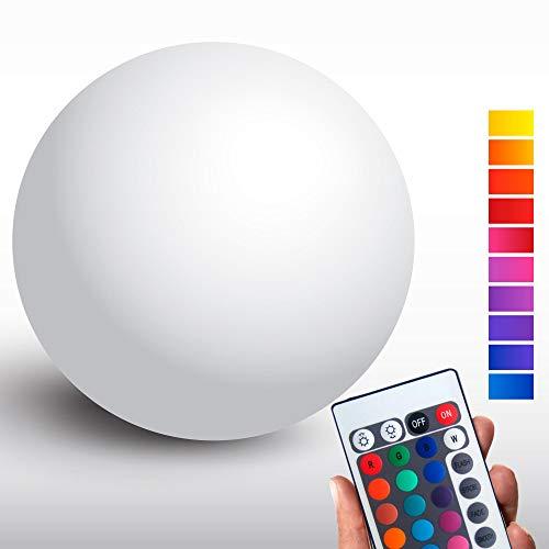 @tec Kabellose LED Kugellampe, 30cm Kugel-Dekoleuchte dimmbar, Farbwechsel, Fernbedienung – Gartenleuchte, Kugelleuchte - hängend & stehend verwendbar - spritzwassergeschützt nach IP54 für Haus & Garten