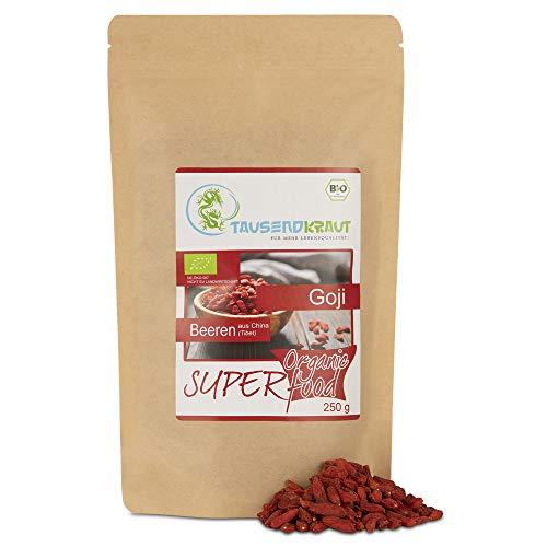 Goji Beeren BIO (250g) Superfood [Premium Qualität aus der Tiefebene Tibets, getrocknet - unbehandelt] Tausendkraut