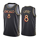 XPQY Zach LaVine Jersey, City Edition Chicago Bulls Uniforme De Baloncesto # 8 Poliéster Bordado Malla Sin Mangas Top Unisex Camiseta Deportiva Black-L