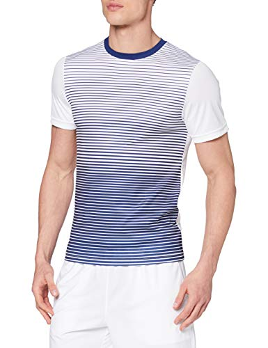 Wilson Homme T-Shirt de Tennis à Rayures, M TEAM STRIPED CREW, Polyester, Jaune (Safety Yellow)/Blanc, Taille M, WRA769705