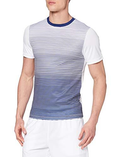 Wilson Homme T-Shirt de Tennis à Rayures, M TEAM STRIPED CREW, Polyester, Bleu (Blue Depths)/Blanc, Taille M, WRA769703