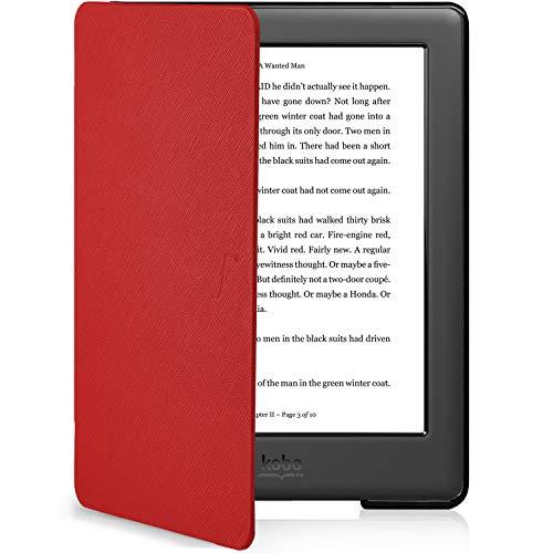 Forefront Cases Hülle für Kobo Glo HD eReader (N437-KU-BK-K-EP) Schutzülle Case Cover für - Dünn Leicht, Rundum-Geräteschutz & Auto Schlaf Wach Funktion + Stift - Rot