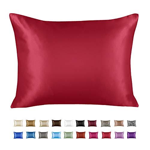 ShopBedding Luxury Satin Pillowcase for Hair – King Satin Pillowcase with Zipper, Red (1 per Pack) – Blissford