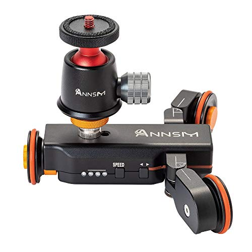 ANNSM Heavy Duty Metal Camera Dolly with Wireless Remote Control 3 Speeds and Mini Tripod Ball Head