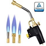 S SMAUTOP Heat Propane mapp Torch 3 Replaceable Nozzles Multi Purpose High Intensity Trigger Start Torch with Hot Turbine Flame for Brazing and Barbecue