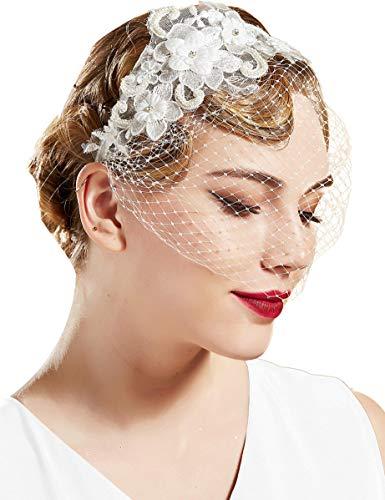 BABEYOND Bridal Wedding Veil Fascinator Tea Party Mesh Lace Veil Headband White