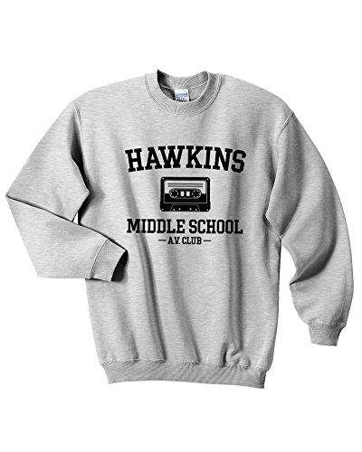 Mars NY Unisex Hawkins Middle School AV Club Sweatshirt Stranger Things Sweatshirt (L, Gray)
