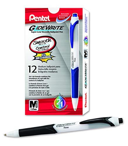 Pentel GlideWrite Ballpoint Pen with TechnIFlo Ink, (1.0mm) Medium Line, Black, Box of 12 (BX910-A)