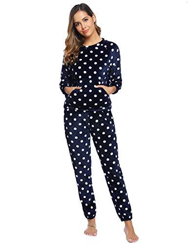 Aibrou Pijamas Mujer Invierno Mangas Larga de Franela Polar
