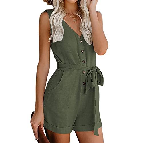 N /C Mono corto y mamelucos con bolsillos para mujer, color sólido, con cuello en V