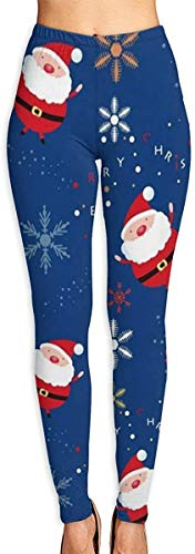 MODORSAN Santa Claus Snowflake Women's 3D Printed Leggings Soft Yoga Workout Running Biker Stretch Tights Soft Print Leggings-M