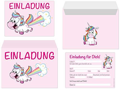 15er Kartenset Einladungskarten mit Umschlägen Kindergeburtstag Mädchen, Unicorn Geburtstags-Party, Einladungen Einhorn, Regenbogen