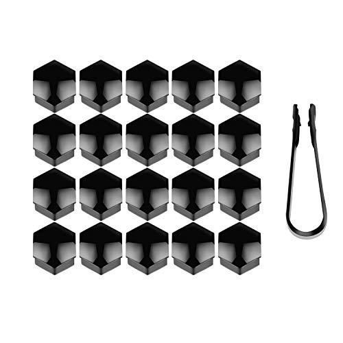 HIMETSUYA 20 Stücke Rad Mutter Cap Radschraubenkappen 19 mm Universal Reifen Mutter Covers mit Entfernung Werkzeug für Autos, Schwarz