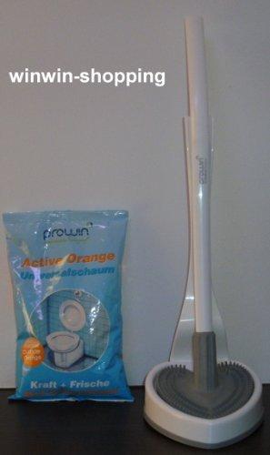 proWIN Toilettenbürste - V7 WC Cleaner - weiß/grau - Herzilein - + 1KG Active Orange Nachfüllpack