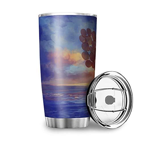 Generic Branded Botella de agua Tumbler Fantasy para niña, con globo, playas, nubes, impresión de...
