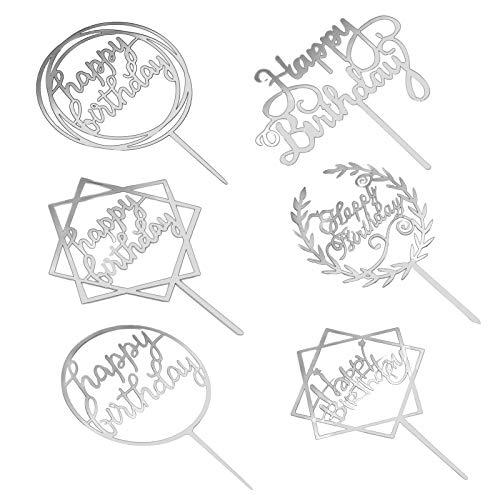 saizone Decoración para Tarta De Feliz Cumpleaños, 6 Piezas de Decoración para Tartas de Cumpleaños, Decoración de Tartas de Acrílico para Cupcakes, Decoración de Tartas con Purpurina (Plata)