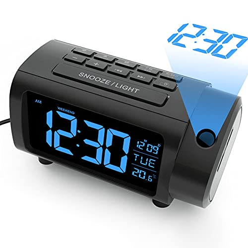 LIORQUE Projection Alarm Clock with FM Radio, Temperature Monitor, USB Charger, Weekend Mode, 2-Color VA Display with 4 Dimmer (Black-Blue)