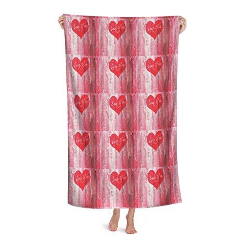 Love You Heart On Grunge - Juego de toallas de baño de microfibra de gran tamaño para adultos