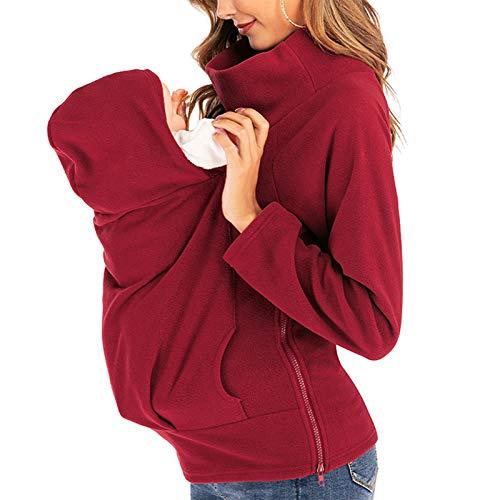 Känguru Tasche Damen Kapuzensweatshirt Umstandsmode Pflege Wrap Schwangerschaftshirt Hemden Mutterschafts Shirt Umstands Funktionsjacke,Rot,M