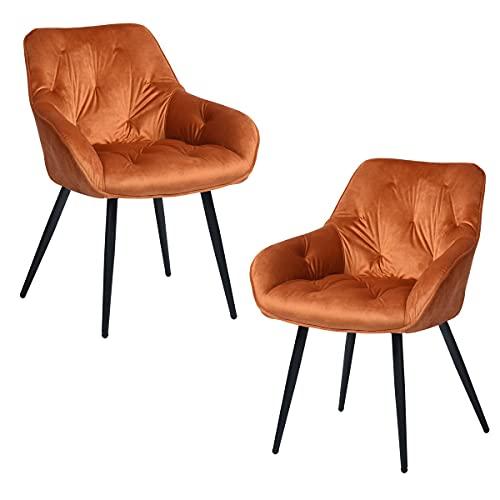 FitAtHome Sedie per Sala da Pranzo, Metallo, Arancione, Large