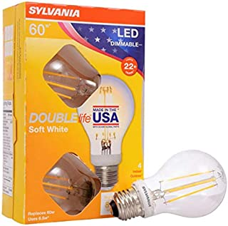 SYLVANIA General Lighting, Soft White 40296 Sylvania 60 Watt Equivalent, A19 LED Light Bulbs, Dimmable, Color 2700K, Made in The USA with US and Global Parts, 4 Pack