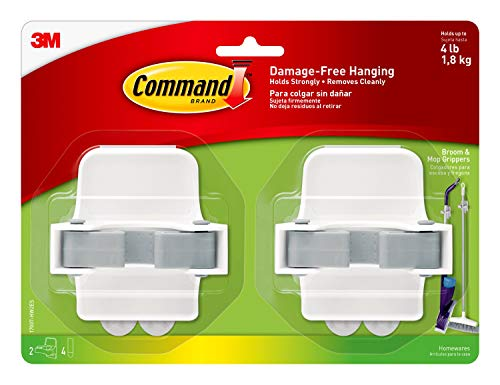 Command Broom and Mop Grippers, 2-Grippers, 4-Strips, Organize Damage-Free