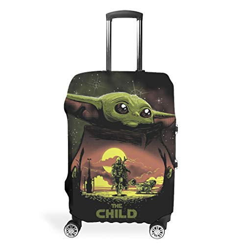 yoda This is The Way Mandalorian 2 Humor 3D Colorful Pattern Luggage Cover Protector Suitcase Cover Elastic Sleeve 18/20/24/28/32 Inch for Journey White s (49x70cm)