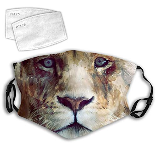 Lion Majesty Face Art Anti-Dust Fave Ma Reusable Fashion Mouth Mas Dust-Proof for Cycling Camping Travel