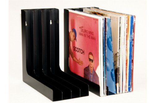 Vinyl Schallplatten Winkel Ständer musictools, LP Regal für 80 LPs - schwarz (2 Stück)
